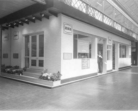 RDS home exhibit, exterior, 1960s