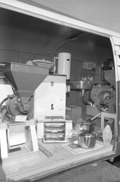 Interior of rural sales van Mullingar May 1954
