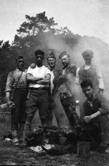 Jerry Corbett crouching in the front right with his rural gang.