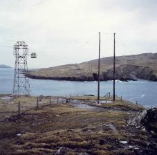 Two vital cables connecting Dursey Island to the mainland: cable car and 10kV overhead line