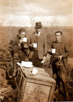 Tim's rural gang with materials shipped from Cork (L-R): PJ O'Hara, Sligo; Jimmy Oates, Sligo; and Peter Kennedy, Donegal