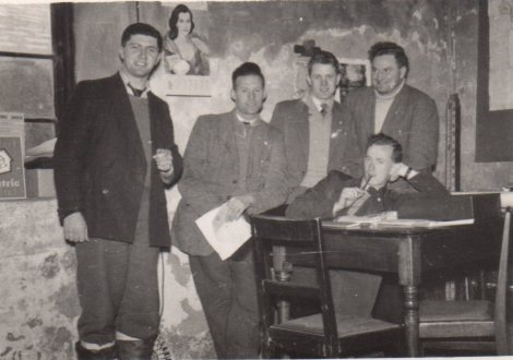 Tim with his colleagues in Belmullet (L-R): Cyril Daly, Swinford, 'the store man'; Tim; Barry Ormond, clerical officer, Waterford; Pearse Dawson, rural canvasser; and Diarmuid O'Conchubhair/Dermot O'Connor, engineer, Kerry