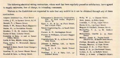 List of contractors in Dublin, Corporation Catalogue, 1911