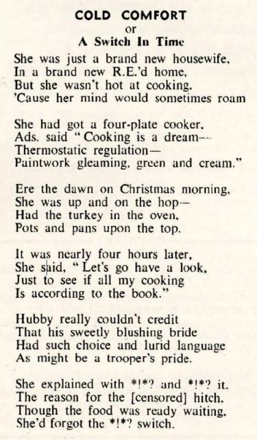REO News, December 1952, 'Cold Comfort'