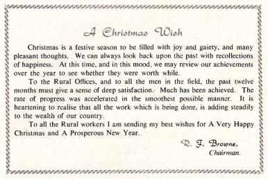 REO News, December 1953, Christmas wish from ESB Chairman, RJ Browne
