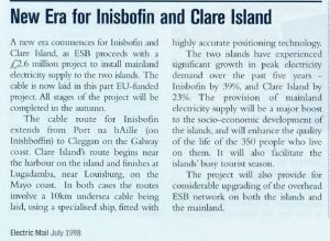 'New Era for Inisbofin and Clare Island' (article Electric Mail, July 1998)