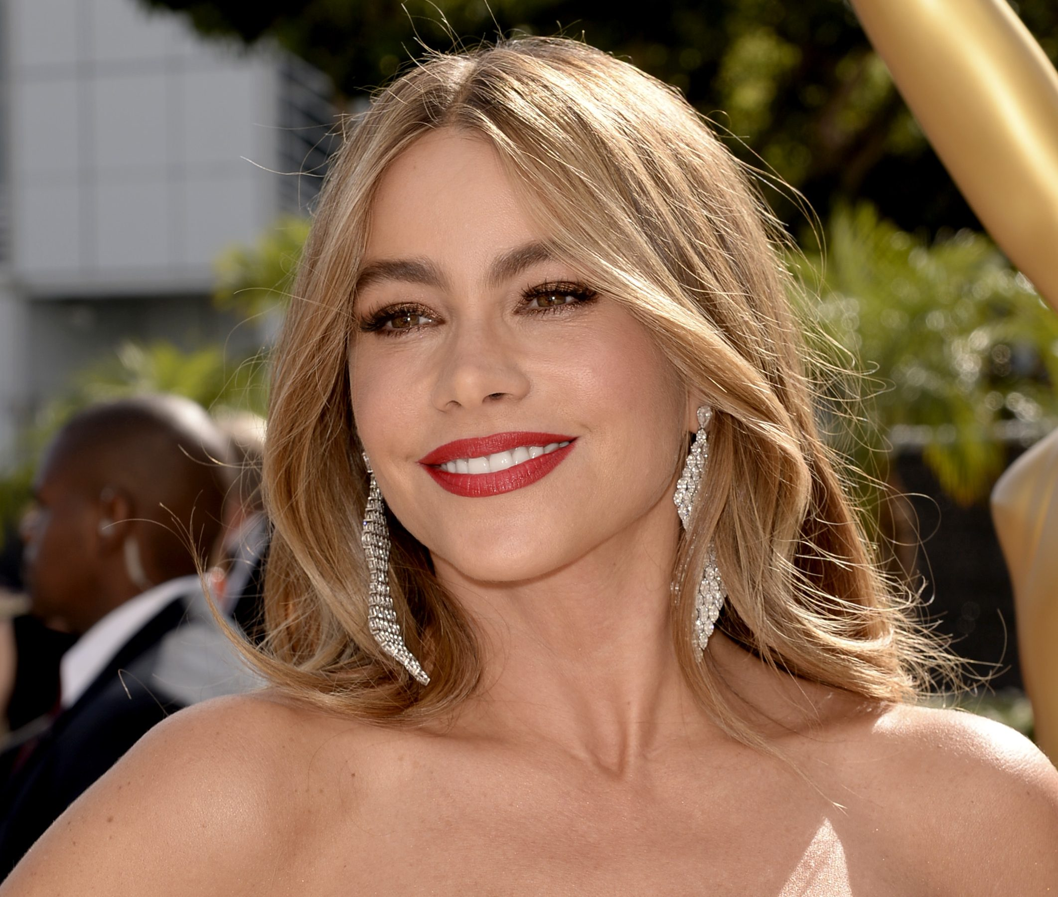 Sofía Vergara arrives at the 66th Primetime Emmy Awards at the Nokia Theatre L.A. Live on Monday, Aug. 25, 2014, in Los Angeles. (Photo by Dan Steinberg/Invision for the Television Academy/AP Images)