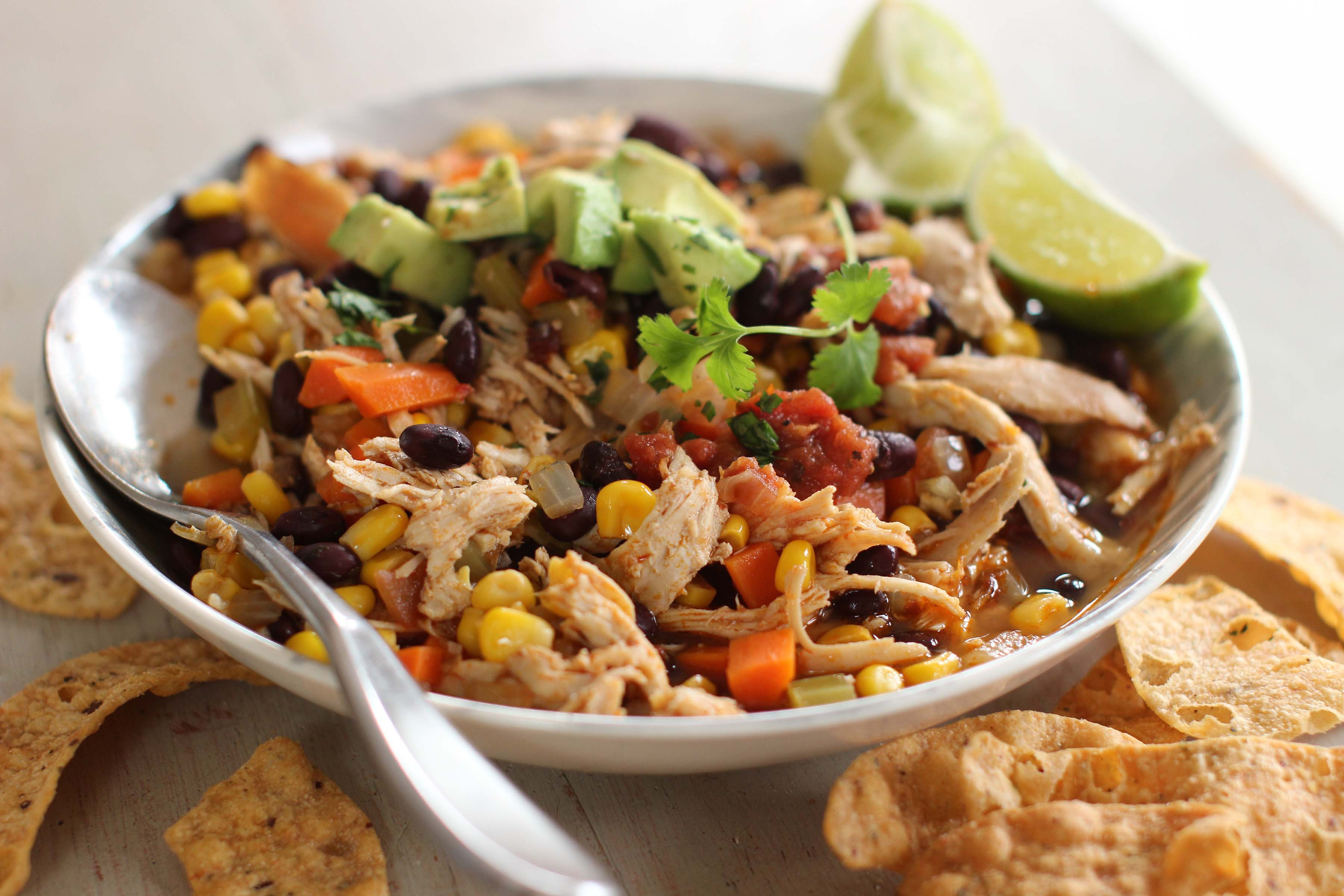 This Nov. 30, 2015 photo shows healthy Mexican chicken stew in Concord, NH. The secret to this quick stew is that the chicken already has so much flavor that adding just a little spice and a little acid (lime juice) makes the flavors taste far more complex than the quick and healthy little dinner gem that this dish is.(AP Photo/Matthew Mead)