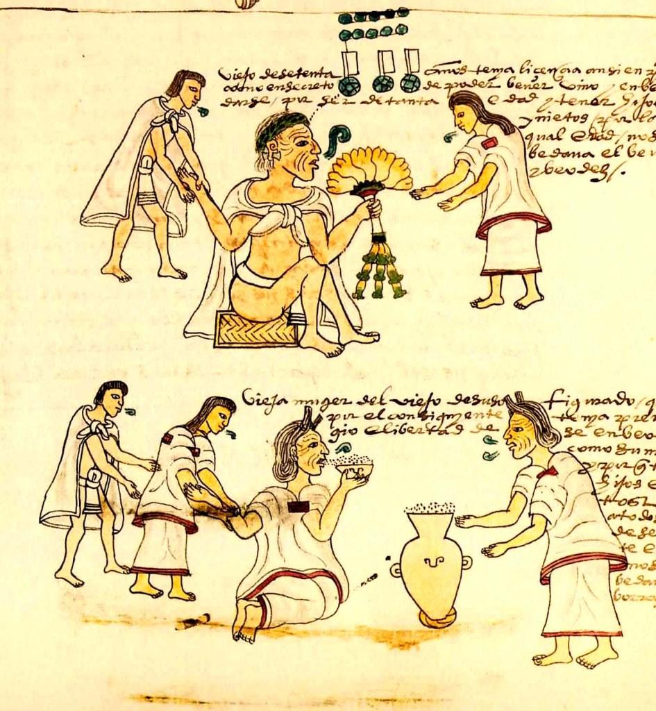 Aztecas bebiendo pulque