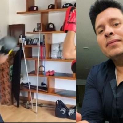 """Oswaldo """"Walo"""" Silvas, vocalista de la Banda MS, demuestra su habilidad para el boxeo"""