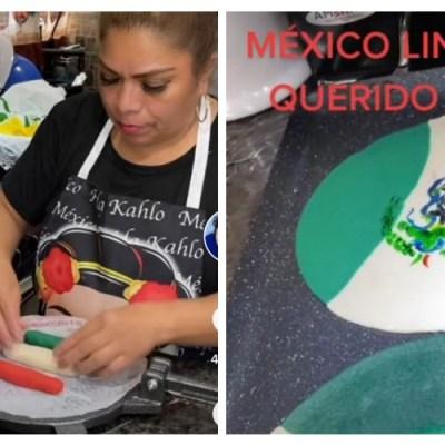 Mexicana que vive en EU crea una tortilla con la bandera de México