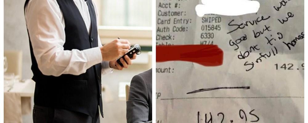 """""""No damos propina a homosexuales"""", le escriben en el ticket a un mesero"""