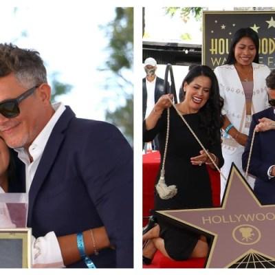 Critican a Yalitza por ir con Alejandro Sanz a develar su estrella en Hollywood