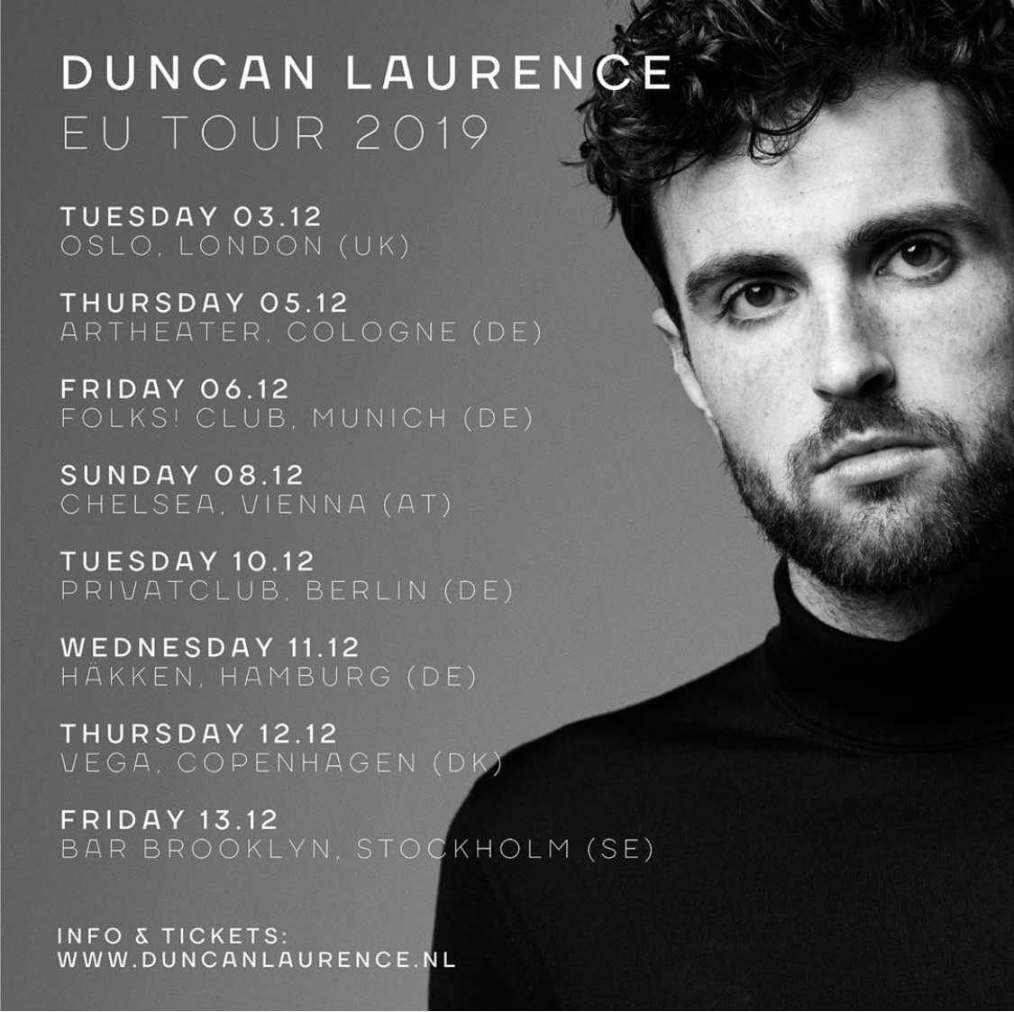 ESC-Sieger Duncan Laurence geht auf Europa-Tour