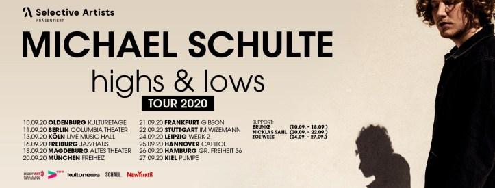 Michael Schulte Highs & Lows Tour 2020 Nachholtermine Ersatz