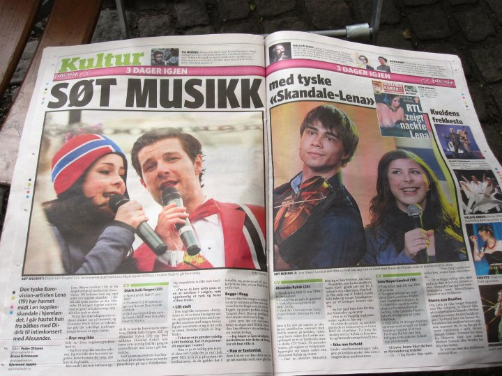 Lena Oslo Norwegen Zeitung Alexander Rybak Didrik Solli-Tangen