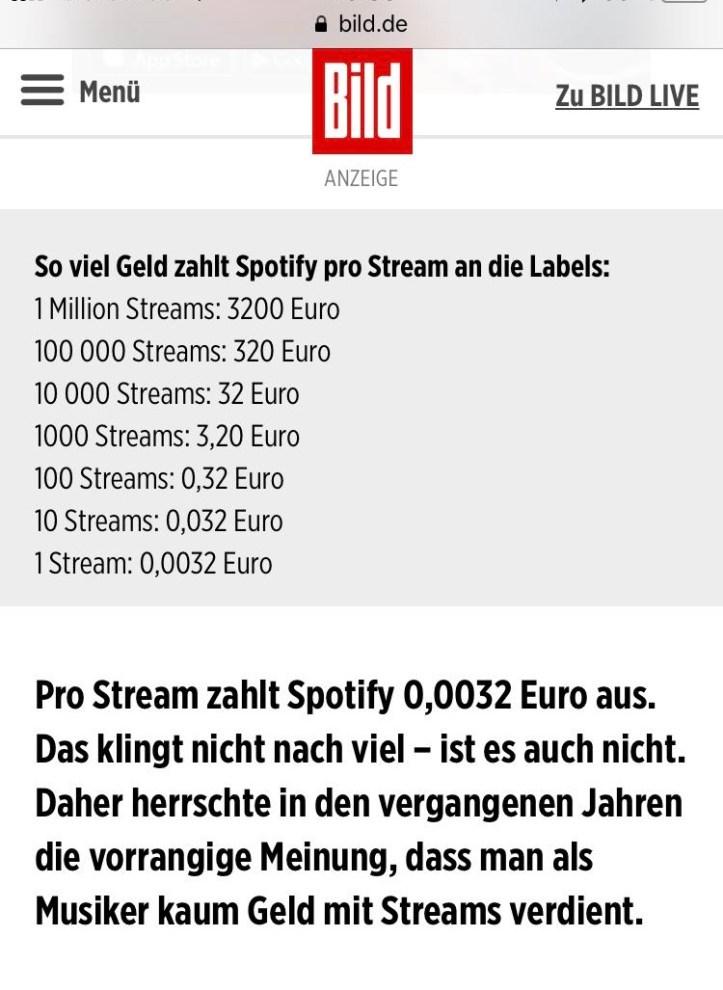 Screenshot Bild Spotify Streams Tabelle