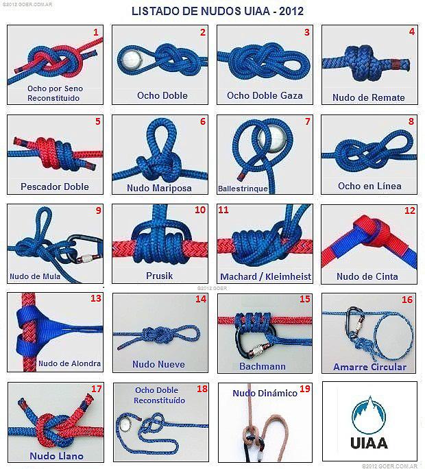19 nudos esenciales segun la UIAA