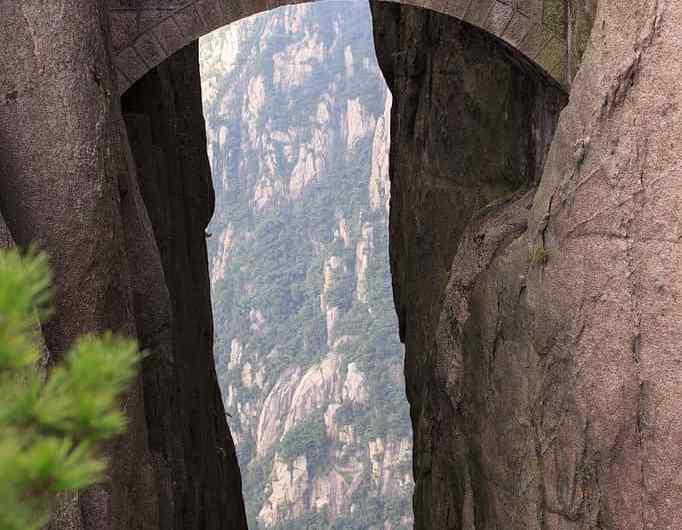 El puente de los inmortales en Huangshan, China