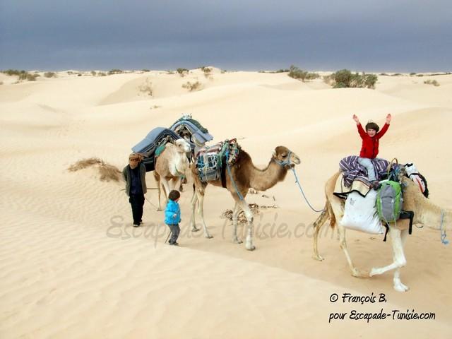 en famille au désert