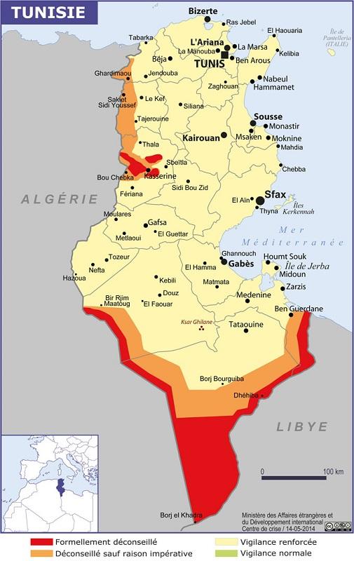 carte tunisie conseils voyageurs