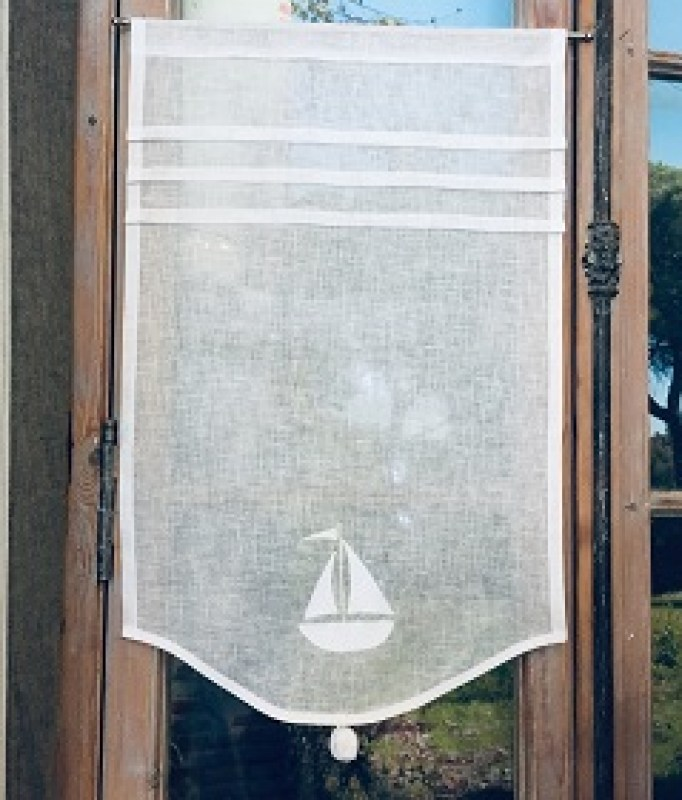 petit rideau bord de mer brode