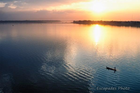 Le Mékong : Coucher du soleil