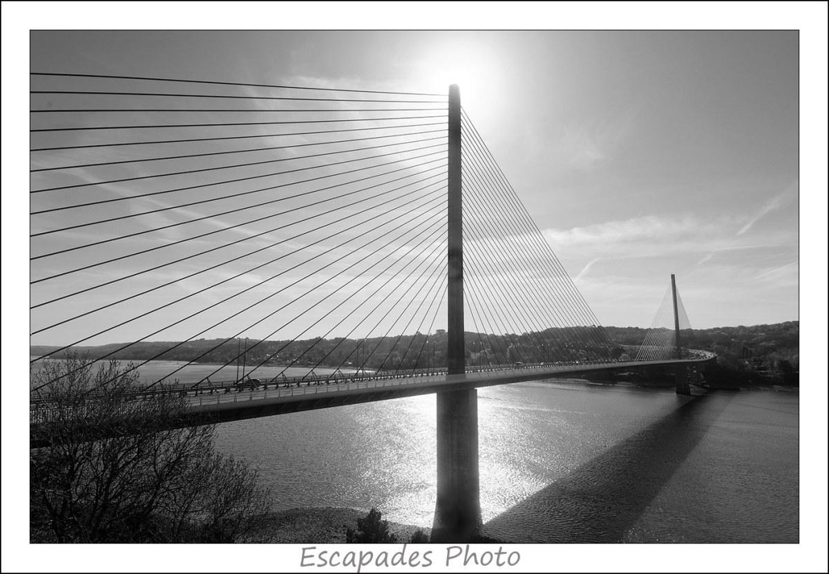 Elorn : La courbe du pont de l'Iroise vu du pont Albert Louppe