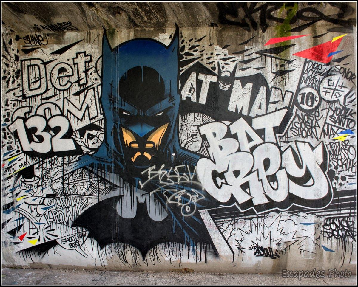 Batman street art canal de l'Ourcq