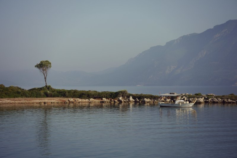 Die Insel Sedir Adasi, berühmt für den Kleopatra Strand