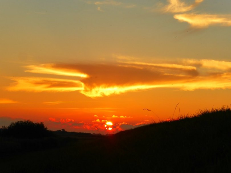 Sonnenuntergang am Deich bei Tønder
