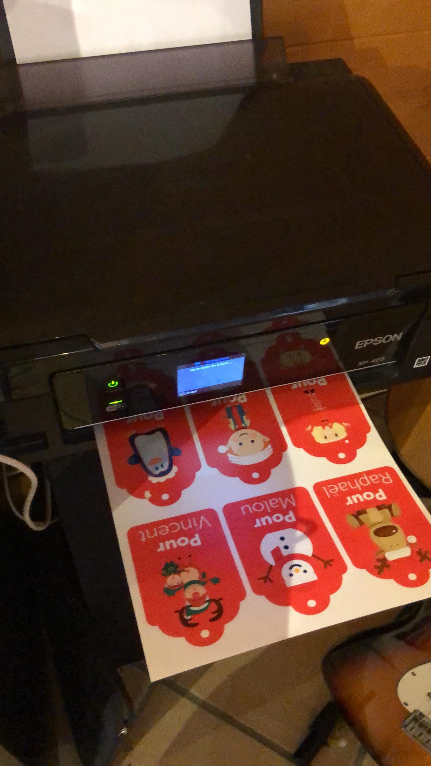 Impression du fichier pdf contenant les étiquettes de Noël