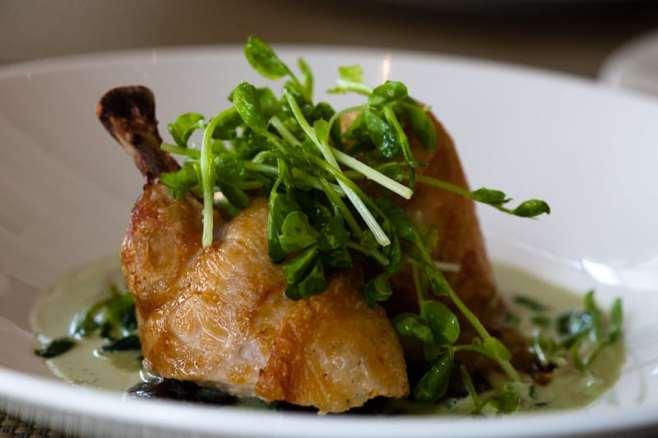Farm Chicken, Arrowhead Spinach, Baby Shitake & Cippolini Onions ($15)