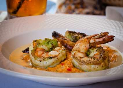 grilled shrimp and spicy grits