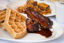 soft waffles with braised pork belly bacon