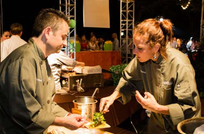 yep, even chef bruno davaillon stands in line to be awed by chef sharon hage