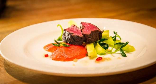 At Central 214, chef Graham Dodds teamed this Wagyu hanger steak with Migration chardonnay in a thrilling pairing.