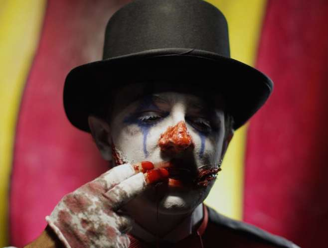 Super spooky clown from Strangling Brothers Haunted Circus