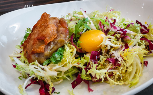 dont miss this frisee salad with a 63F egg and confit chicken