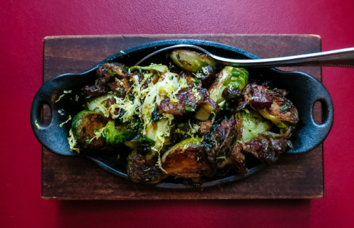 Dallas Chop House roasted Brussels sprouts with bacon, Medjool dates, lemon
