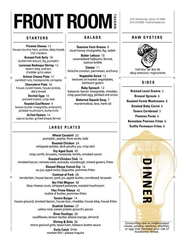 front room menu