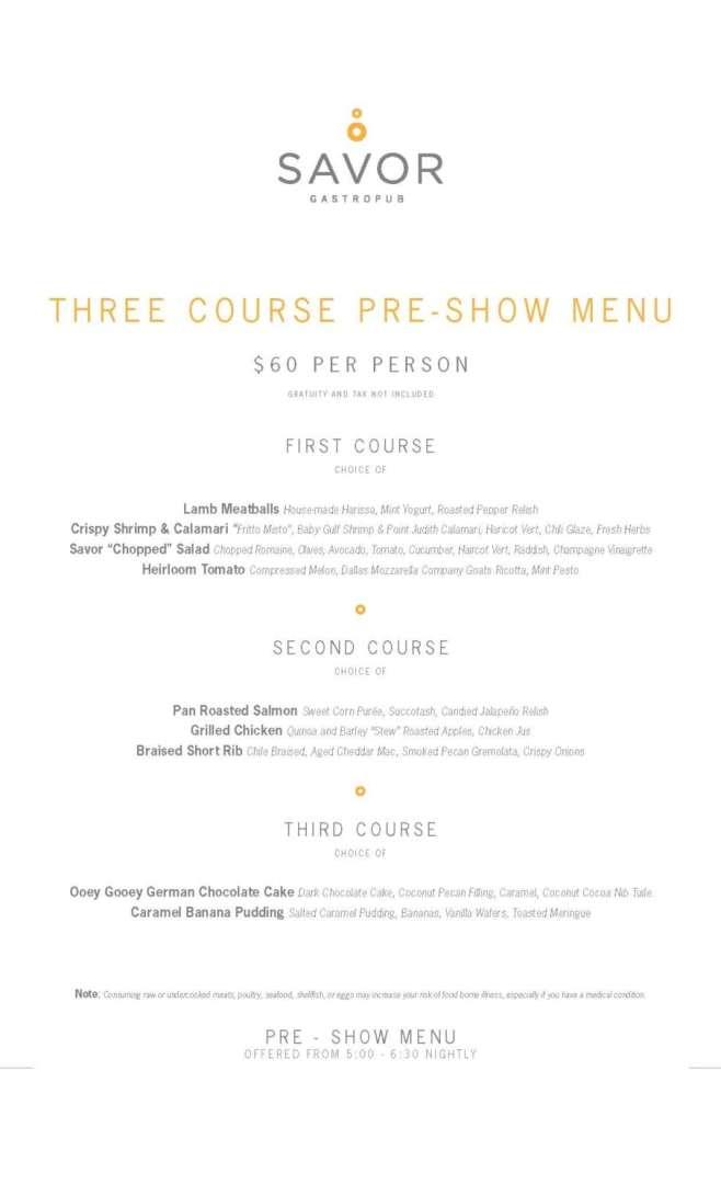 savor menu