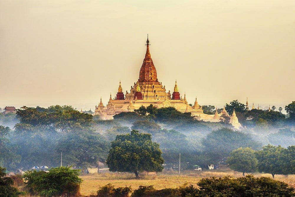Ananda temple in Bagan at sunrise