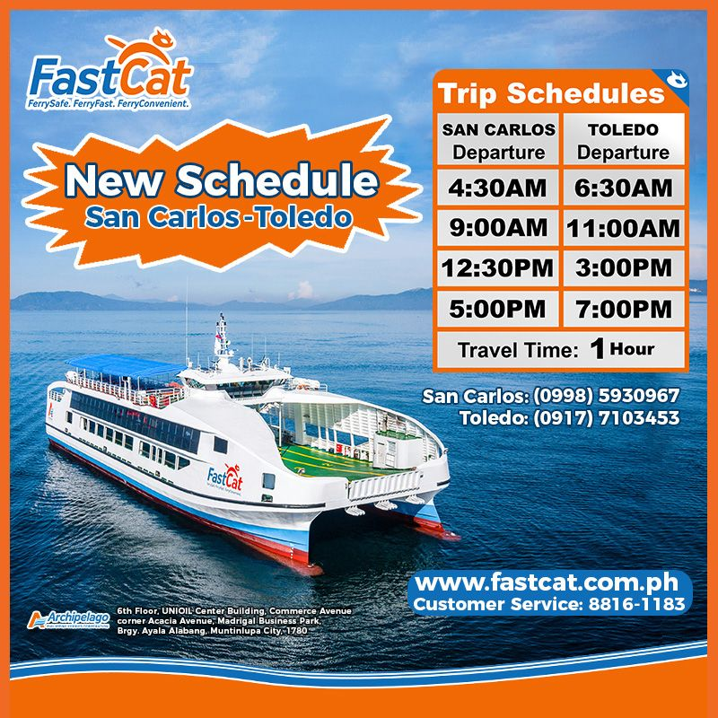 FastCat Schedule of fast craft travel from San Carlos to Toledo / Toledo to San Carlos