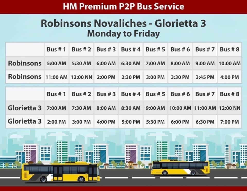 HM Transport Fairview to Makati P2P Bus Schedule