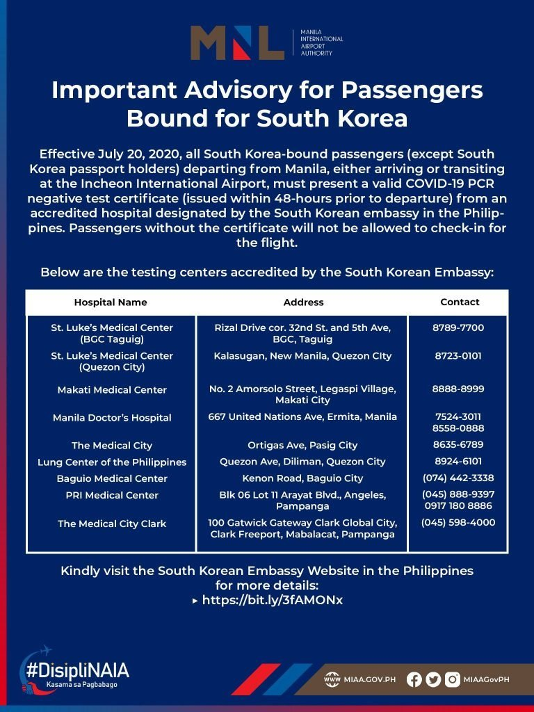 COVID-19 testing centers accredited by the South Korean Embassy
