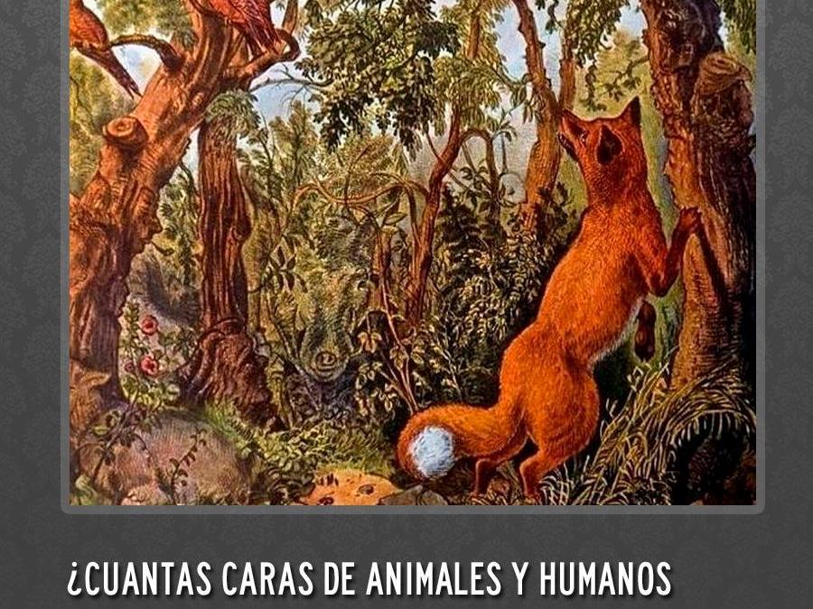 ¿Cuántos rostros humanos y animales hay en la imagen?