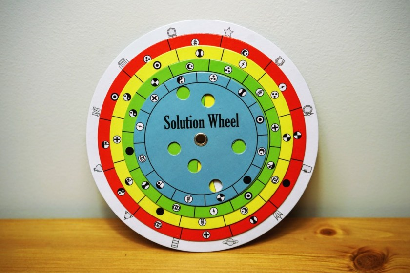 To check your answers (and open up new puzzles), you have to input your answers into the Solution Wheel.