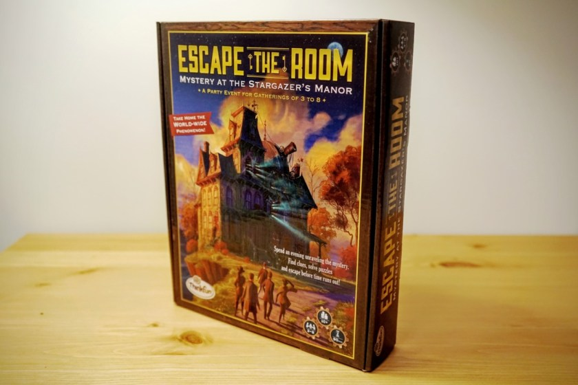 The box for ThinkFun's Escape the Room: Mystery of Stargazer's Manor
