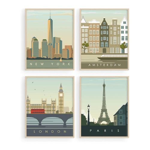 Juego de 4 posters Vintage de viaje para pared